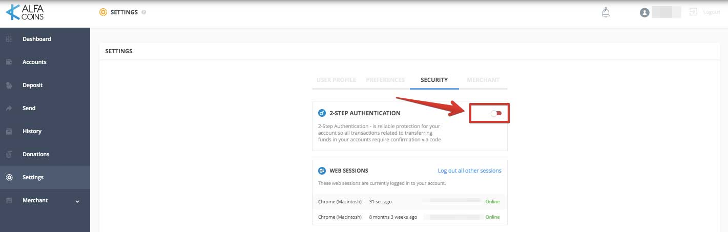 How to activate 2-step Authentication on ALFAcoins