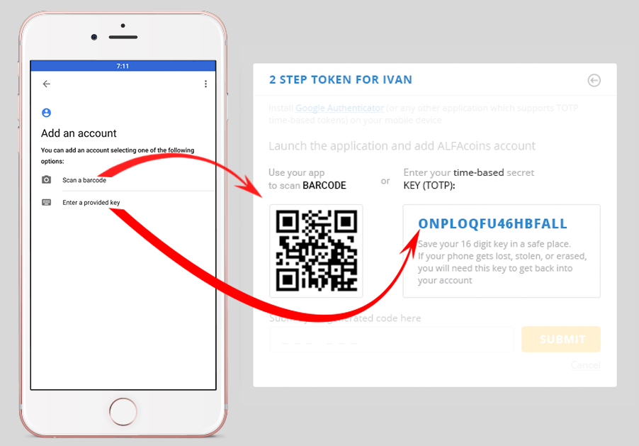 2 ways to add your ALFAcoins account into Google Authenticator app.